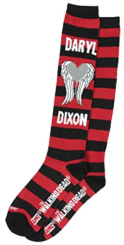 [Walking Dead Zombie Women's 1 Pair Knee High Socks - Red Stripe Daryl Dixon] (Daryl Dixon Costumes)