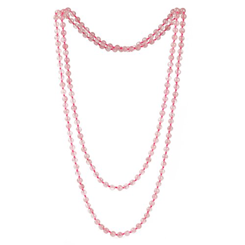6mm Pink Crystal Beads Long Necklace Rose Quartz Stone Strand Handmade Necklaces ()