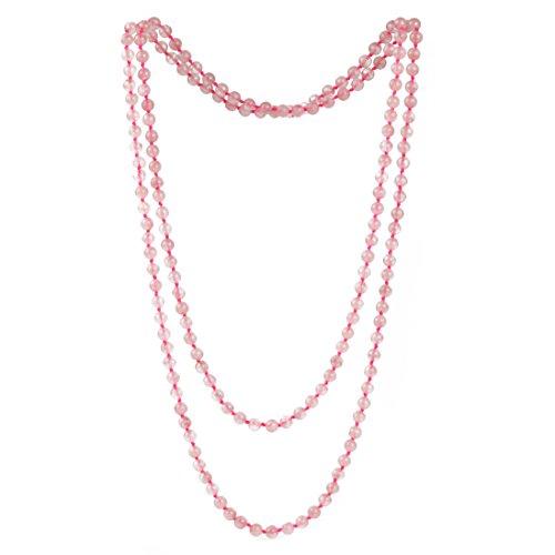Quartz Bead Necklace - 6mm Pink Crystal Beads Long Necklace Rose Quartz Stone Strand Handmade Necklaces 47''
