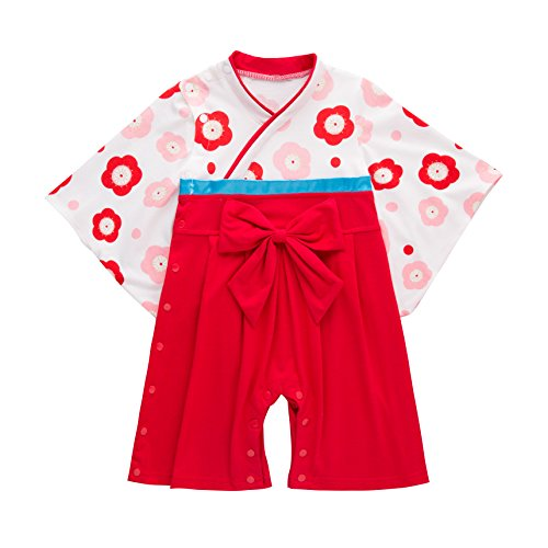 XM Nyan May's Baby Toddler Girls Long Sleeves Sakura Kimono Cotton Romper Jumpsuit, Red, 9 - 12 Months