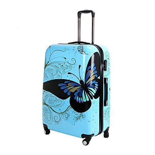 28-Blue-Butterfly-Upright-Spinner-Travel-Luggage-Suitcase-4-Wheel-Cabin-Trolley-Set-by-WindMax