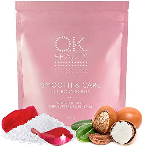 Shea Butter Sea Salt Body Scrub – Adriatic Sea Salt Skin Exfoliator with Almond Seed Oil, Rose Petals for Smooth Appearance – 100% Natural Exfoliating Rejuvenating Skin Care Treatment - OK Beauty