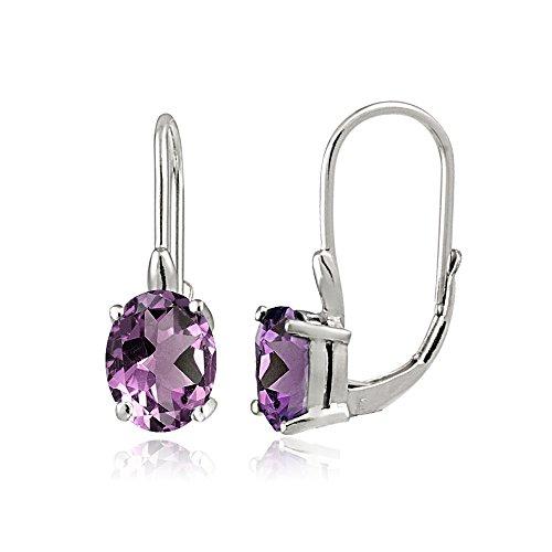 Sterling Silver Purple Cubic Zirconia Oval Leverback Earrings ()