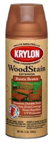 Krylon K03603000 Exterior Semi-Transparent Wood Stain, 12-Ounce, Rustic Brown by Krylon