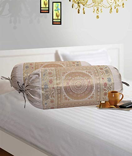 Stylo Culture Indian Polydupion Cylindrical Tube Pillow Bolster Pillow Covers Grey Jacquard Brocade Border Mandala Large Couch Round Cylinder Cushion Covers (Set of 2) | 30x15 Inches (76x38 cm) ()