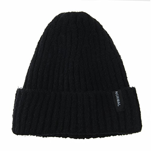 WITHMOONS Gorros de Punto Beanie Hat Ribbed Slouchy Soft Fabric Normal Patch CR5831 Negro