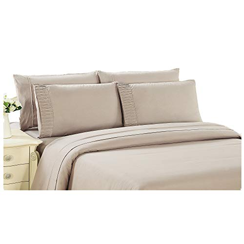 Bamboo Living Eco Friendly Egyptian Comfort Bedding 2 Piece Duvet Cover Set with 1 Pillow Sham, Beige Color, Twin Size