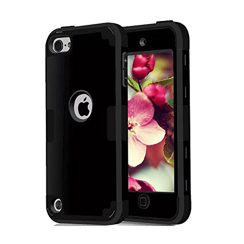 iPod Touch 5 6 Cases, CheerShare Dual Layer Shockproof Hard Case Cover for Apple iPod Touch 5th 6th Generation (Black)