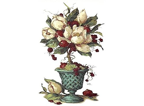 "270 Magnolia Flower Topiary Waterslide Ceramic Decals By The Sheet (NO BG 11 1/2"" X 7 1/2"" * 1 pcs)"