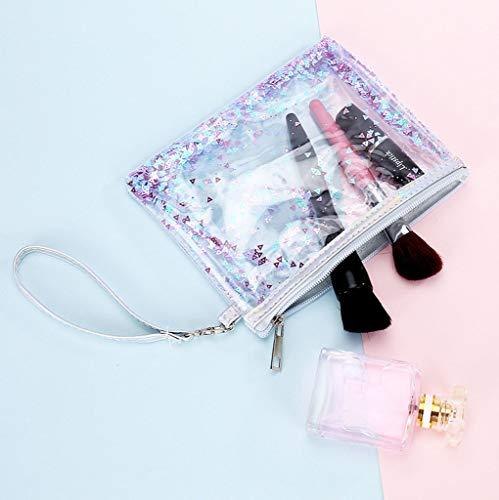 Chic De Laser Paillettes Multifonctionnel Trousse Mode Bags Bag Mouvants À Femmes Make Travel Sables Up Embrayage Toilette Adeshop Sac Vintage Violet Transparent Pouch APwURwqx