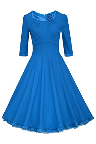 Etuoji Retro Stylish Ladies Women Doll Collar Half Sleeve High Waist Elegant Long Dress Blue - High Stylish Collar