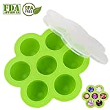 Allezola Premium Silicone Egg Bites Molds for Instant Pot of 5,6,8 qt Pressure Cooker, Reusable Baby Food Storage Container and Freezer Tray with Clip-on Lid, 100% FDA Food Grade Silicone, BPA Free(Green) (1 Pack)