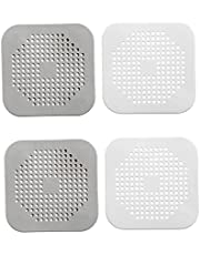 Silicone Shower Drain Hair Catcher Square Kitchen Sink Strainer Easy to Install and Clean Suitable for Bathroom Bathtub Kitchen 4 Pcs