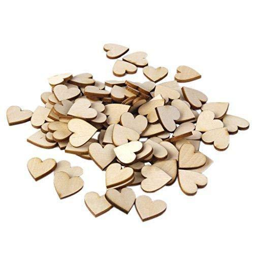 Depory Plain decorazioni a cuore in legno per il fai da te 30/mm confezione da 50