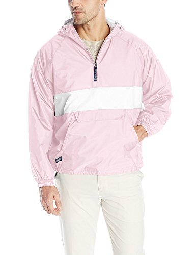 Charles River Apparel Wind & Water-Resistant Pullover Rain Jacket (Reg/Ext Sizes), Pink/White, XS