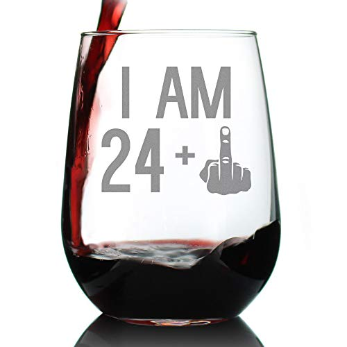24 + 1 Middle Finger - 25th Birthday Stemless Wine Glass for Women & Men - Cute Funny Wine Gift Idea - Unique Personalized Bday Glasses for Mom, Dad, Friend Turning 25 - Drinking Party Decoration