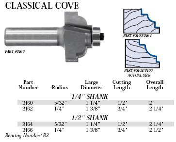 Whiteside Router Bits 3160 Classical Cove Bit with 5/32-Inch Radius, 1-1/4-Inch Large Diameter and 1/2-Inch Cutting Length