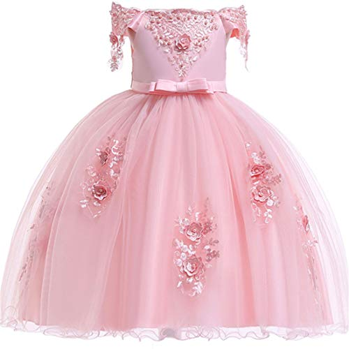 Girls Dress 6 Cute Lace Dress for Girls Size 7 Blush Pink Pageant Party Holiday Graduation Dress for Girls Dresses Ball Gowns Girls Sleeveless Birthday Fancy Tutu Dress (Pink 130)