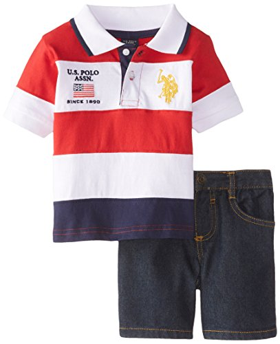 U.S. Polo Assn. Baby Boys' Cut and Sew Polo and Denim Short, Engine Red, 24 Months
