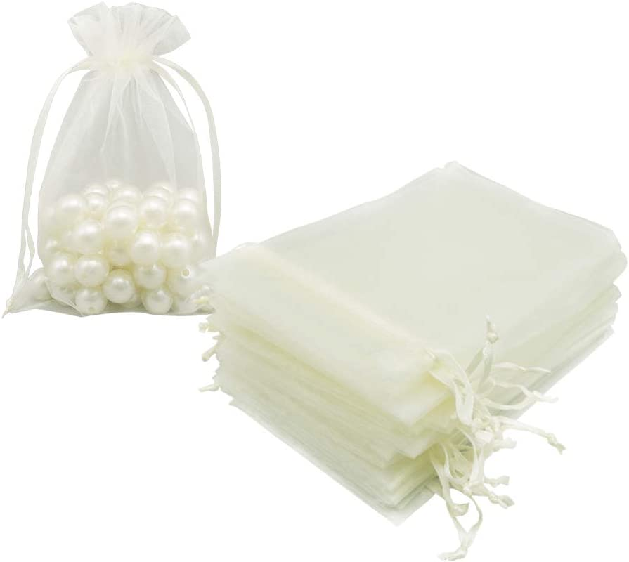 HRX Package Organza Bags 4x6 inch 100pcs, Mesh Jewelry Pouches Candy Drawstring Gift Bags Small Sachet for Christmas Wedding Giveaways (Beige)