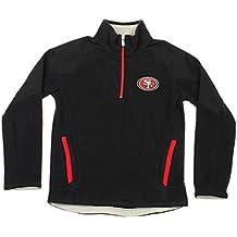San Francisco 49ers NFL Big Boys Youth Evasive Pullover Half Zip Fleece Sweater, Black
