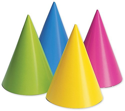 Creative Converting 20PH-0010 Party Hats, Assorted Neon,