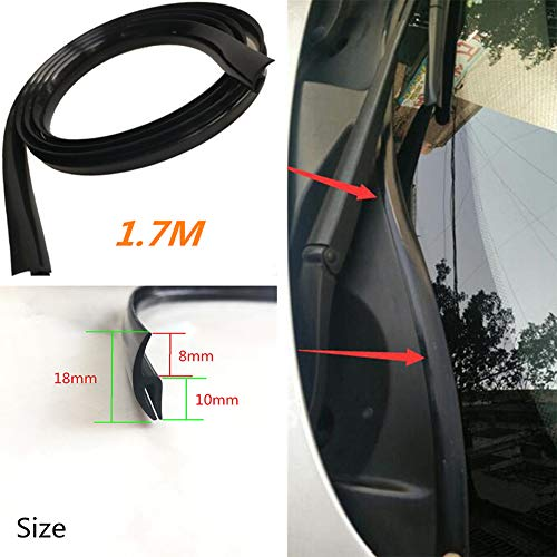 yanbirdfx Universal Auto Car 1.7M Front Windshield Window Seal Moulding Trim Rubber Strip Black