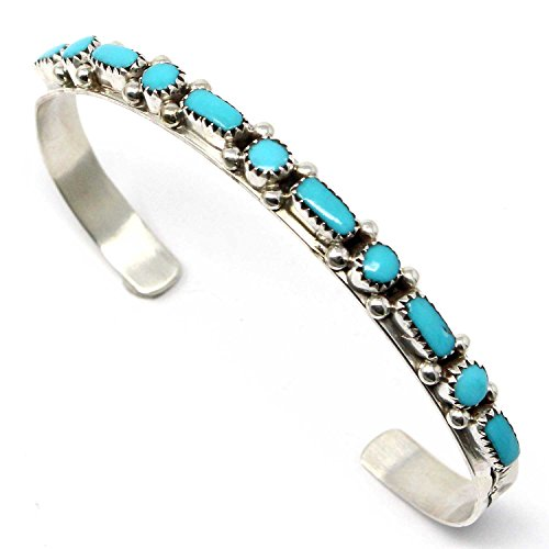 L7 Trading Zuni Sterling Silver & Turquoise Bracelet by - Turquoise Jewelry Cuff Bracelet