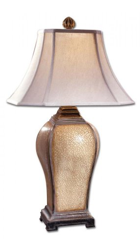 Uttermost 27093 Baron Lamp 16 x 16 x 33, Ivory, Crackle Finish Baron Square Table Lamp