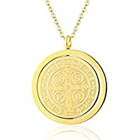 Saint Benedict Exorcism Medal Catholic Cross Protection 18K Gold Plated Stainless Steel Pendant Necklace