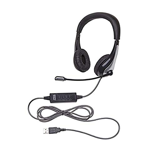 Califone 1025MUSB NeoTech 1025MUSB Headset with Gooseneck Microphone, Black/Silver