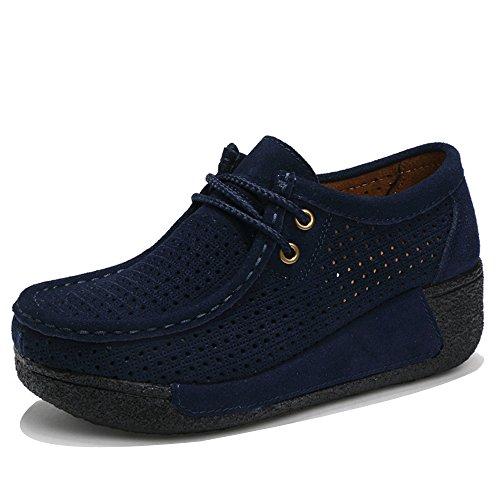 EnllerviiD Women Cut Out Platform Fashion Sneakers Moc Toe Suede Moccasin Loafers Shoes 505-1 Blue