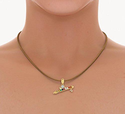 Or jaune 18K 0,07ct tw Round-cut-diamond (IJ | SI) et Navaratna Pendentif
