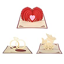 Handmade 3D Pop-Up Greeting Cards Papercraft Angel Kiss + Telesthesia + Couple Ring for Love/Anniversary,set of 3