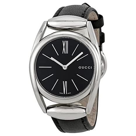 40e0f35055f3 Gucci 139 Horsebit Black Dial Black Leather Ladies Watch YA139401   Amazon.ca  Luggage   Bags