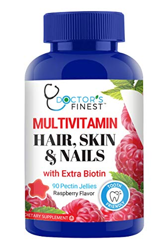 Doctors Finest MULTIVITAMIN Hair, Skin & Nails Gummies w/Vitamins A, C, D, 6 Different B Vitamins & Extra BIOTIN, Vegetarian, GMO & Gluten Free, Great Tasting Raspberry Flavor Pectin Chews, 90 Count