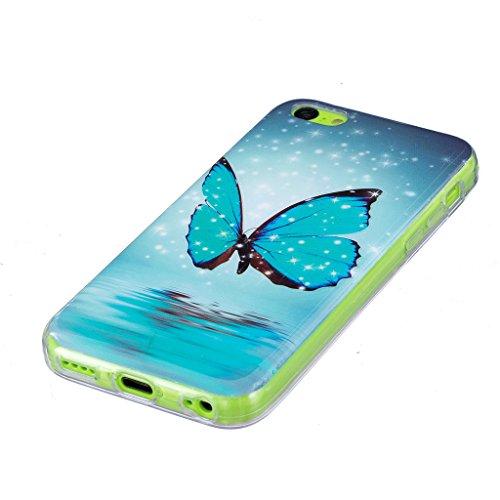Hülle iPhone 5C, IJIA Ultra Dünnen Transparent Leuchtende Nacht Blau Schmetterling TPU Weich Silikon Handyhülle Schutzhülle Handyhüllen Schale Case Tasche für Apple iPhone 5C + 24K Gold Aufkleber