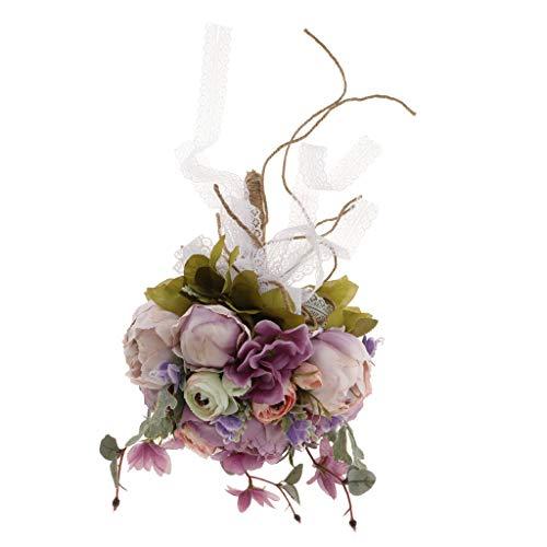 Prettyia Artificial Peony Flowers Hand Tied Bouquet for Wedding Bride Bridesmaid - Light Purple