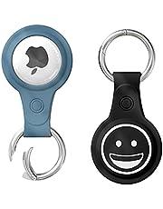 MOGADEE 2 stuks siliconen airtags sleutelhangers, krasbestendig, wasbaar en zweetbestendig tracker, beschermhoes, geschikt voor Apple Tracker 2021 Airtag, Airtags hoes, Airtag Tracker accessoires