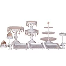 HUKOER Set Of 12 Pieces Gold Cake Stand Wedding Cupcake Stand Set Glass Dome Crystal Candy Bar Decoration Cake Tools Bakeware Set (B-Set of 12, White)