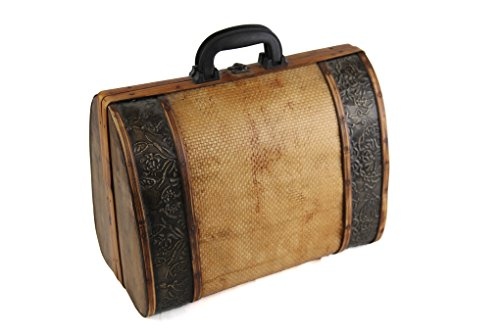 Vintage Wicker and Wood Mini Suitcase or Briefcase with Embossed Metal Trim