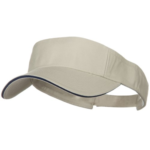 Prostyle Cotton Twill Washed Sandwich Visor - Stone Navy ()