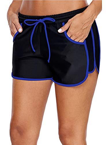 WILLBOND Women Swimsuit Shorts Tankini Swim Briefs Plus Size Bottom Boardshort Summer Swimwear Beach Trunks for Girls (L Size, Black Royal Blue)