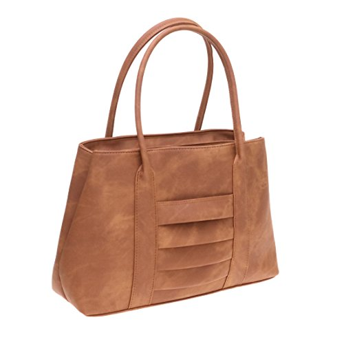 Top PU Hobo Front with Pockets Handle Beautiful Leather Satchel Handbag Twinya Brown Tote Women's UqFxPA0
