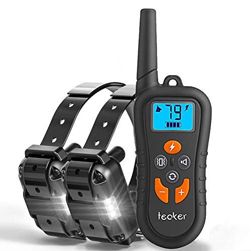 Cheap Dog Training Collar with Remote for 2 Dogs, Dog Bark/Shock Collar up to 1800ft Range Rechargeable Waterproof E-Collar with Beep/Vibration/Shock/LED Light for Small Medium Large Dogs