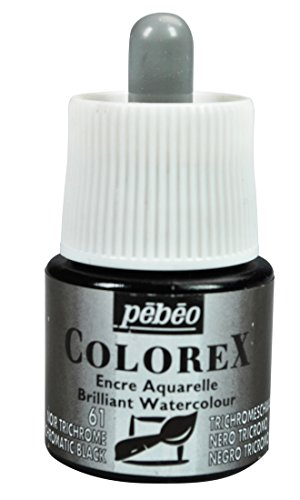 Pebeo Colorex, Watercolor Ink, 45 ml Bottle with Dropper - Trichromatic Black (Drawing Pebeo)