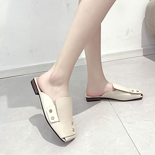 Talon Simples,mode Slippers Chaussures Sauvage ❤femmes Bas Pantoufles Rivet Confortable Beige Carrée Femmes Tête Paresseux Panpany z75RRxnZq