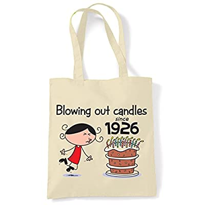 Blowing Out Candles Since 1926 Women's 90th Birthday Tote Shoulder Bag - more-bags