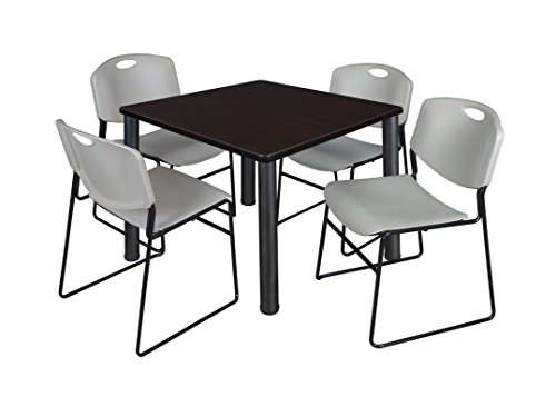 "Kee 42"" Square Breakroom Table- Mocha Walnut/ Black & 4 Zeng Stack Chairs- Grey"