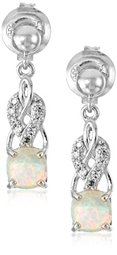 (Sterling Silver Created Opal and Diamond Accent Drop Design Earrings)